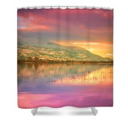 A Rainbow Morning Shower Curtain
