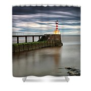 A Red And White Striped Lighthouse Shower Curtain