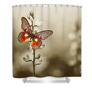 A Red Butterfly On The Moody Field Shower Curtain