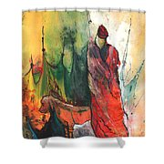 A Red Dog In Morocco Shower Curtain