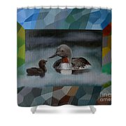 A Red-throated Diver And The Chick Shower Curtain