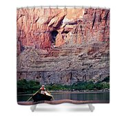 A River Guide Rowing A Wooden Dory Shower Curtain