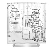 A Robot Sits Reading In A Chair Shower Curtain