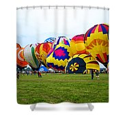 A Row Of Hot Air Balloons Left Side Shower Curtain