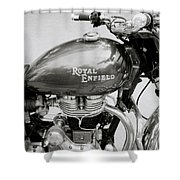 A Royal Enfield Motorbike Shower Curtain