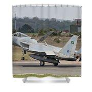 A Royal Saudi Air Force F-15c Landing Shower Curtain