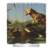 A Saber Tooth Cat Attacks A Woolly Shower Curtain