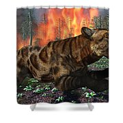 A Saber-toothed Tiger Running Away Shower Curtain