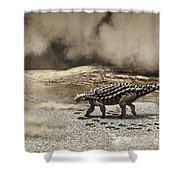 A Saichania Chulsanensis Dinosaur Shower Curtain by Roman Garcia Mora