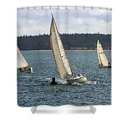 A Sailing Yacht Rounds A Buoy In A Close Sailing Race Shower Curtain