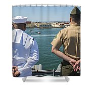 A Sailor And Marine Man The Rails Shower Curtain by Stocktrek Images