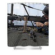 A Sailor Fires An M-240b Machine Gun Shower Curtain by Stocktrek Images