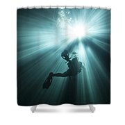 A Scuba Diver Ascends Into The Light Shower Curtain by Michael Wood