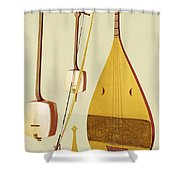 A Shamisen, A Kokyu And A Biwa Shower Curtain