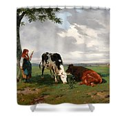 A Shepherdess With A Goat And Two Cows In A Meadow Shower Curtain