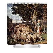 A Shepherdess With Her Flock Near A Stream Shower Curtain