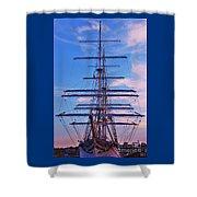 A Tall Ship At Sundown In Baltimore Shower Curtain