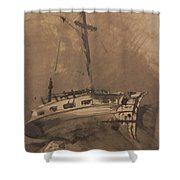 A Ship In Choppy Seas Shower Curtain by Victor Hugo