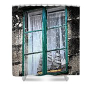 A Ship In The Green Window Shower Curtain