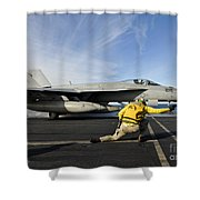 A Shooter Signals To Launch An Fa-18e Shower Curtain