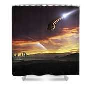 A Shuttle In The Process Of Landing Shower Curtain
