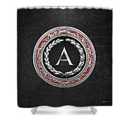 A - Silver Vintage Monogram On Black Leather Shower Curtain