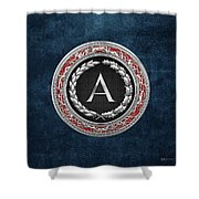 A - Silver Vintage Monogram On Blue Leather Shower Curtain