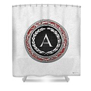 A - Silver Vintage Monogram On White Leather Shower Curtain