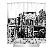A Simpler Time Line Art Shower Curtain