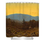 A Sketch Of Hunter Mountain. Catskills. Twilight On Hunter Mountain Shower Curtain