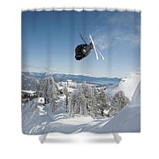 A Skier Doing A Front Flip Into Powder Shower Curtain