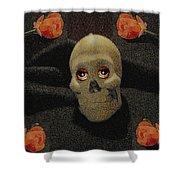 A Skull In The Dark Pop Art Shower Curtain