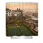 A Skyline View Of Roof Tops Shower Curtain