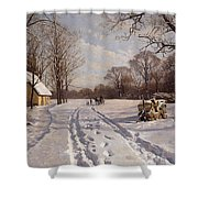 A Sleigh Ride Through A Winter Landscape Shower Curtain by Peder Monsted