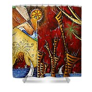 A Slice Of Paradise By Madart Shower Curtain by Megan Duncanson