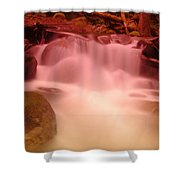 A Small Waterfall Along The Old North Cascade Highway  Shower Curtain