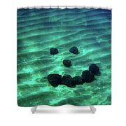 A Smiley Face Formed By Large Boulders Shower Curtain