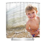 A Smiling Young Boy Enjoys A Sunny Shower Curtain