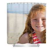 A Smiling Young Girl Enjoys A Sunny Shower Curtain