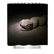 A Snake Pre-hispanic Stone Sculpture Shower Curtain
