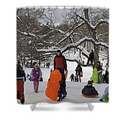 A Snow Day In The Park Shower Curtain