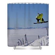 A Snowboarder Catches Air Off A Jump Shower Curtain