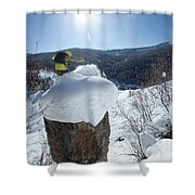 A Snowboarder Jumps Off A Cliff Shower Curtain