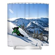 A Snowboarder Making Some Fresh Tracks Shower Curtain