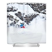 A Snowboarder Riding Through Powder Shower Curtain