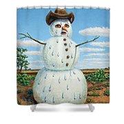 A Snowman In Texas Shower Curtain
