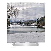 A Snowy Day On Lake Chatuge Shower Curtain