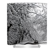 A Snowy Drive Through Chestnut Ridge Park Shower Curtain