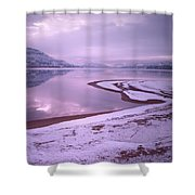 A Snowy Shore Shower Curtain