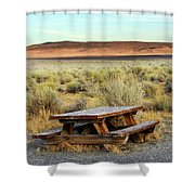 A Solitary Wooden Picnic Bench Shower Curtain